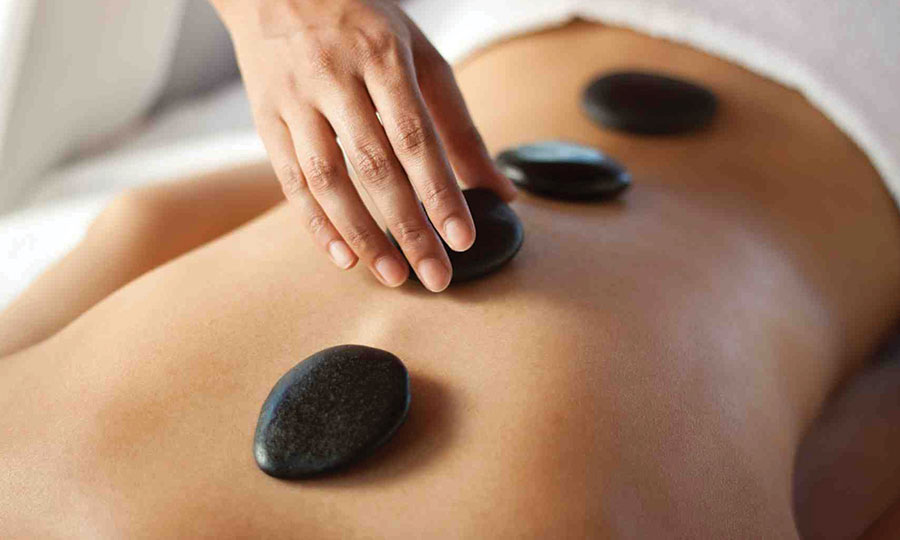 Picture of a stone massage.
