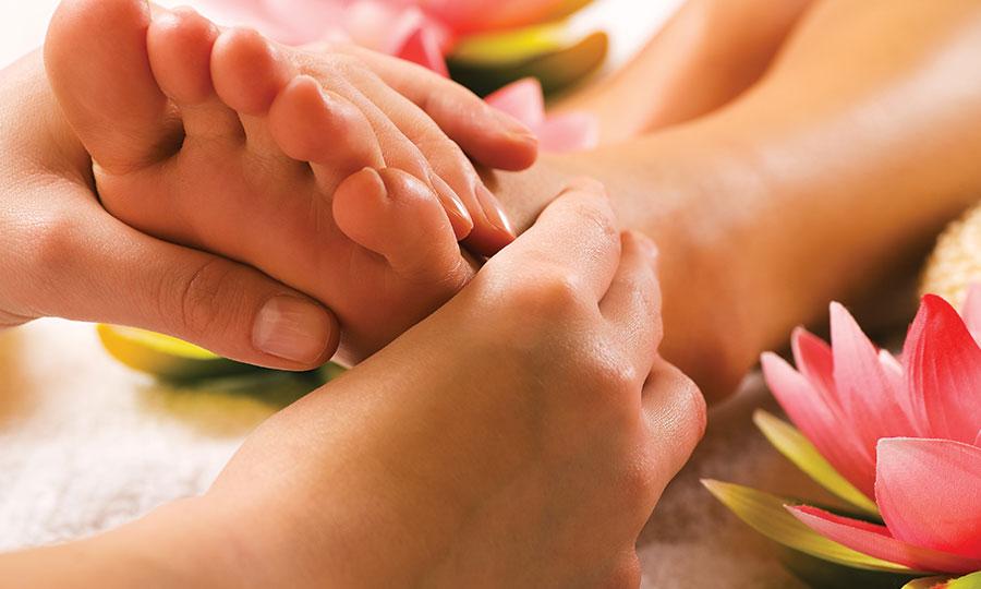 Woman having a foot massage.